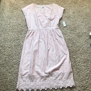fb1a7c6916b Old Navy Dresses - Old Navy Pink Woven Cutwork Cotton Midi Dress